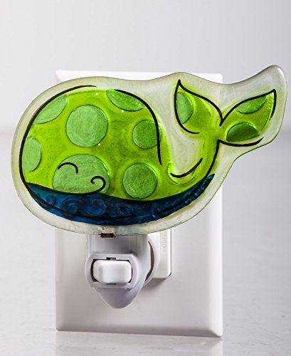 Green Painted Glass Whale Night Light