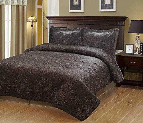 Fancy Collection 3Pc Bedspread Bed Cover Embroidery Quilted Coffee Brown Bedding Queen/King front-812272