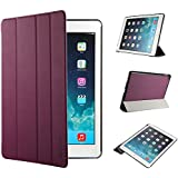 EasyAcc iPad Air 2 Smart Case Cover Ledertasche Schutzhülle Bumper Hüllen Tasche Leder Hülle Ultra Slim Lederhülle Flip Case Etui mit Standfunktion / Auto Sleep Wake up für iPad Air 2 / ipad 6 - Lila, Ultra Slim