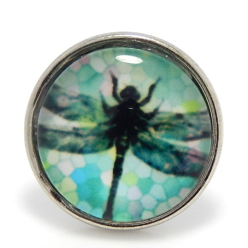 "Jewelry Monster Chunk Snap Charm ""Dragonfly"" Portrait Jewels for Chunk Snap Charms Jewelry (Button Size 3/4″ 20mm) 3447"