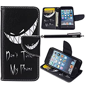 iPod Touch 5 Case, i Touch 6 Case Wallet, iYCK Premium PU Leather Flip Folio Carrying Magnetic Closure Protective Shell Wallet Case Cover for iPod Touch 5/6 with Kickstand Stand - Grim Smile