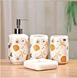 Popular Design European Minimalist ocean orange starfish and shells wash pattern Set / bathroom four-pieces set / ceramic bathroom suite