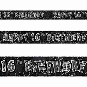 12ft Happy 16th Birthday Black Sparkle Prismatic Party Foil Banner Decoration from Unique