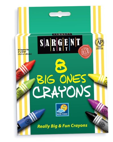 Sargent Art 22-0589 5-Inch By 9/16-Inch The Big Ones-8-Crayons And Peggable front-85742