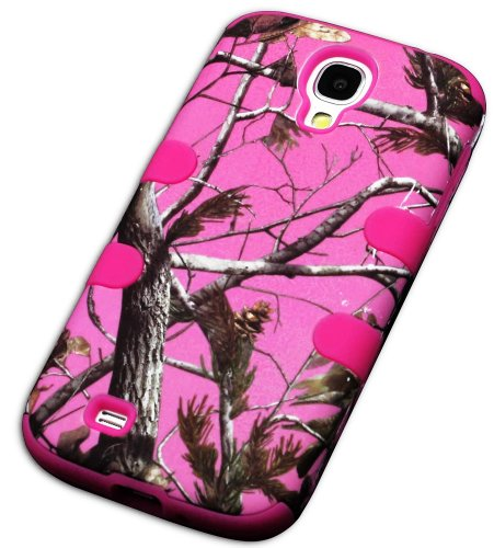 "Mylife Rose Pink - Pink Tree Camouflage Design (3 Piece Hybrid) Hard And Soft Case For The Samsung Galaxy S4 ""Fits Models: I9500, I9505, Sph-L720, Galaxy S Iv, Sgh-I337, Sch-I545, Sgh-M919, Sch-R970 And Galaxy S4 Lte-A Touch Phone"" (Fitted Front And Back"