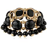 """Gold-Tone and Resin Bead Stretch Bracelet, 7.5"""""""