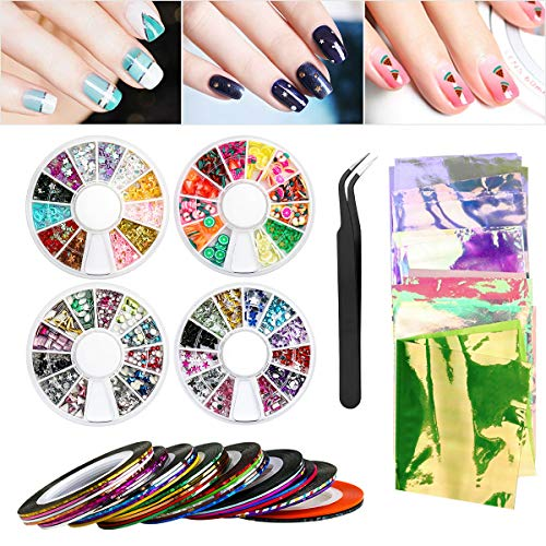 Nail Art Set, Nail Art Tools Decoration ETEREAUTY Nail Art Kit with 30 Striping Tape Nail Art Sticker, 3D Heart Star Flower Fruit Nail Tip DecalS, Nail Foils Nail Art, Rhinestones, Studs, Tweezers