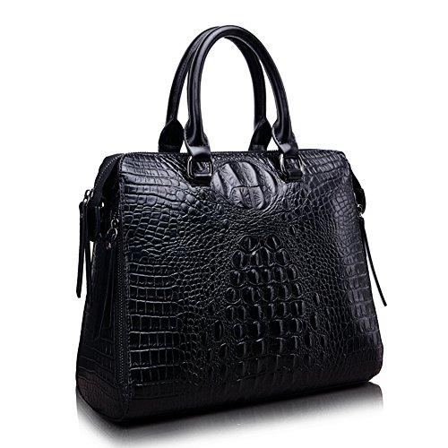 Dopobo® Damen Handtasche neuste Version europäische und Amerikanische Damen Leder Schultasche Beuteltasche KrokodilMuster. (schwarz) Picture