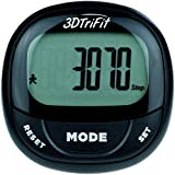 3DTriFit 3D Pedometer Activity Tracker With Built-in Clip | Pause & Resume Feature, 7-Day Memory, Accurately Track Steps, Calories, Miles/Km. Best Pedometer For Walking For Women, Men & Kids (Black)