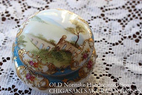 華やかなロココスタイル オールドノリタケ 1908年頃 金彩点盛上げ ハンドペイント フタ付き 小物ボックス マルキ印 イギリス輸出用