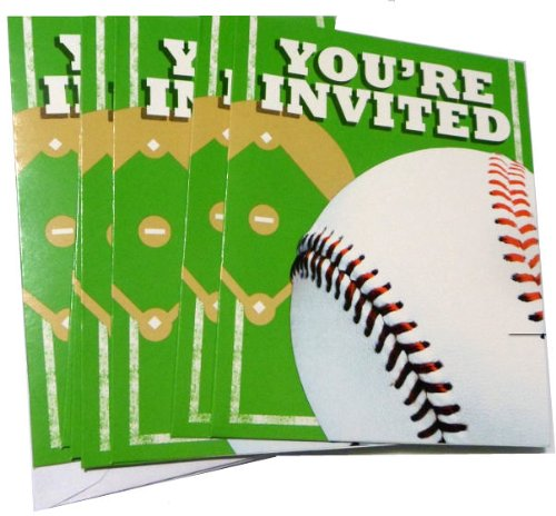 Baseball Birthday Party Invitation Cards