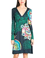 Desigual Women's Gare Long Sleeve V-Neck A-Line Dress