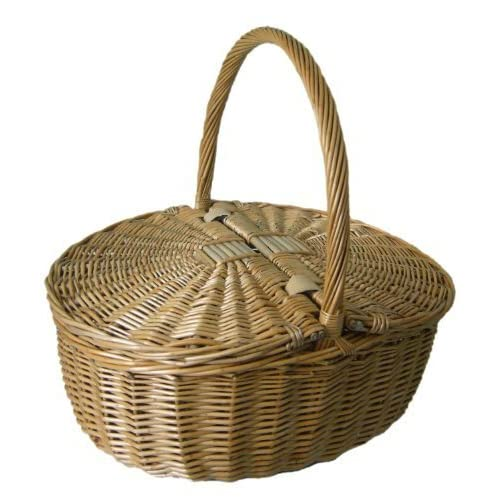 Antique Grey Oval Picnic Basket by Red Hamper