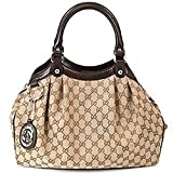 Gucci Beige and Brown Leather and Canvas Medium Sukey Shoulder Bag 211944
