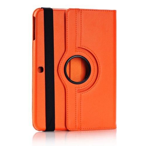 Foxnovo Samsung Galaxy Tab 3 10.1 Case - Slim Folding Cover Case For Samsung Galaxy Tab 3 10.1 Inch Gt-P5200 / Gt-P5210 Android Tablet With Free Screen Guard Stylus Pen And Cloth Set (Orange)