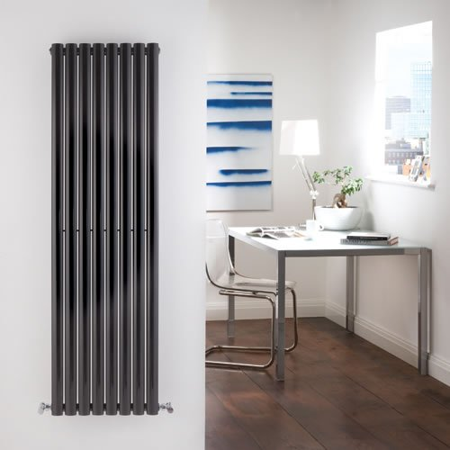 Milano Aruba - Tall Luxury High Gloss Black Vertical Designer Double Radiator 1600mm x 472mm - Stunning Modern Design