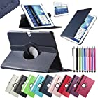 Pandamimi ULAK(TM) Leather 360 Rotating Case Cover for Samsung Galaxy Tab3 10.1 Tablet P5200 P5210 Auto Sleep/Wake function with Screen Protector and Stylus (Navy Blue)