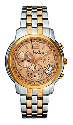 GROVANA 1581,9141 Reloj infantil de cuarzo con para hombre esfera cronográfica y correa de acero inoxidable de dos tonos 1581,9141