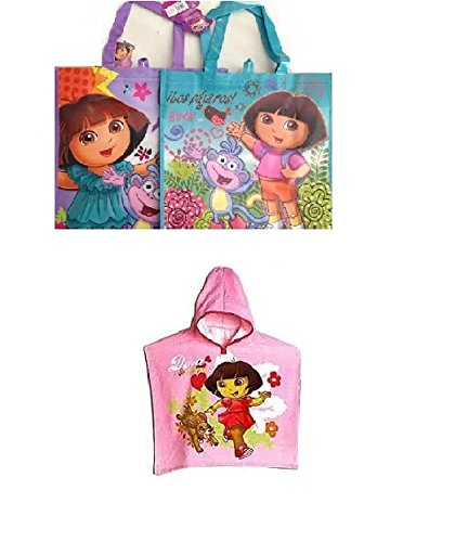 Dora the Explorer Hooded Poncho Towel & Reusable Tote Bag - 1