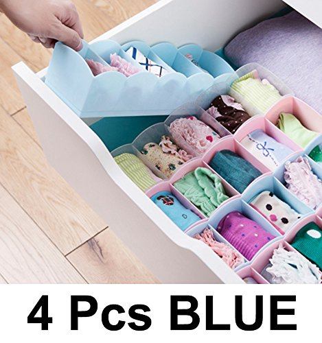 Lifestyle-You 4 Pcs Blue Undergarments Innerwear Drawer Organiser Partition Box._DR15B_BLUE