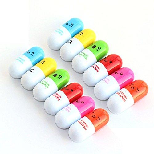 Partstock(TM) 12PCS Ballpoint Pen, Vitamin Pill, Novelty Pen, Size12x2.4cm, Gift Pen,multicolor,Ink color:Blue