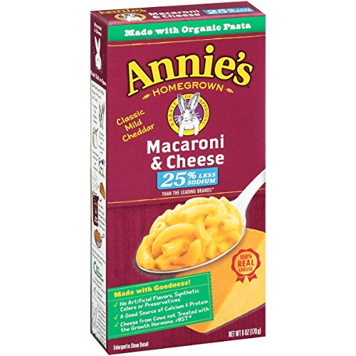 Annie's Homegrown Macaroni & Cheese 25% Less Sodium, All Natural, 6-Ounce Boxes (Pack of 12) (Whole Grain Mac And Cheese compare prices)