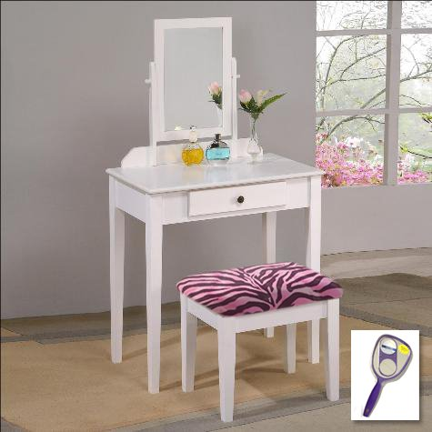 New White Finish Make Up Vanity Table with Mirror & Pink Zebra Faux FurThemed Bench