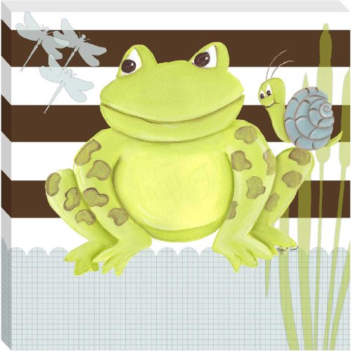 "Doodlefish Gallery-Wrapped 18""x18"" Wall Art, Frog on Stripes"