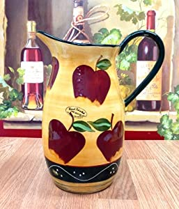 Country Apple Pitcher Kitchen Decor Ceramic