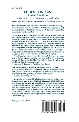 Eugene Onegin: A Novel in Verse: Commentary: Commentary v. 2 (Bollingen Series (General))