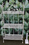 Shabby Vintage 3 Tier Metal Bakers Rack FOLDABLE Stand / bookcase / storage White -Distressed finish Vintage for Pot Plants