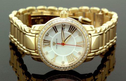 AQUA MASTER 0112MUTBL4H - Reloj para mujeres, correa de metal color amarillo