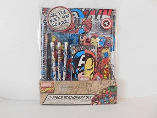 Marvel Comics 11 -piece Stationery set-Captain America, Iron Man and Spiderman