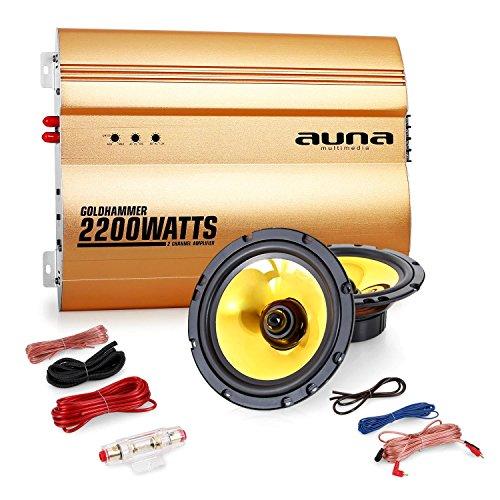 """Auna """"Golden Race V2"""" Set car audio 2.0 Casse Amplificatore (2200 Watt, coppia altoparlanti 16,5cm, membrana d'oro, set completo di cavi)"""