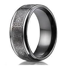 buy Benchmark Men'S Black Titanium 9Mm Comfort Fit Wedding Ring -Cathedral Cross