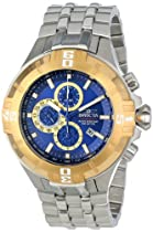 Invicta Mens Reef Pro Diver XXL Chronograph Gold Tone Bezel Blue Dial Bracelet Watch 12359