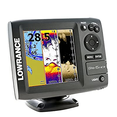 Lowrance Elite-5 HDI Chartplotter Fishfinder :: with Navionics Plus and combo 83/200 455/800 Wide Beam Transducer :> plus Protective Cover from Navico