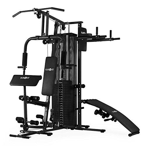 Klarfit Ultimate Gym 5000 stazione fitness multifunzionale (home gym, palestra con più di 50 esercizi differenti addominali, trazioni vogatore, appoggi imbottiti, 2 x manubri, 9 dischi peso da 6 kg, peso principale da 4,5 kg, peso massimo 58,5kg) - nero