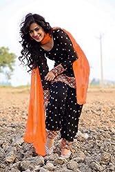 3G9 shop Designer Black Cotton Embroidered Semi Stitched Salwar Suit Dupatta Dress Material