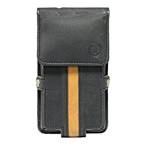 J Cover A6 Nillofer Series Leather Pouch Holster Case For Lyf Flame 1 Black Tan