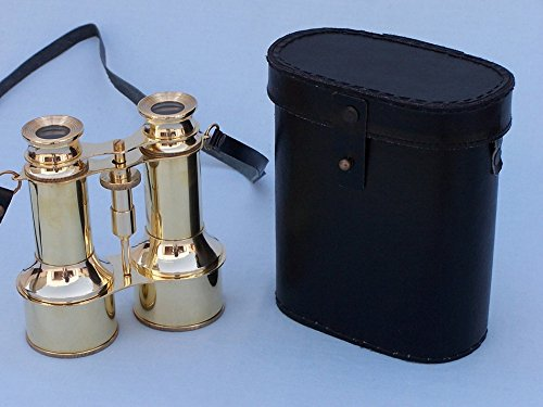 "Solid Brass Binoculars W/ Leather Case 6"" - Binoculars With Leather Case"