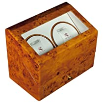 Steinhausen SM388GA Lifetime Wooden Dual Automatic Dual Motor Burlwood Watch Case