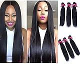 Mike & Mary® Straight Brazilian Virgin Hair 3 Bundles 300g Virgin Human Hair Extensions Brazilian Hair Weave (12 12 12inch, #1B Off Black)