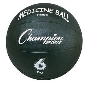 Champion Sports Rubber Medicine Ball, Black, 6 kg by Champion Sports