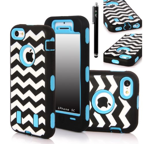 Iphone 5C Case, E Lv Iphone 5C Case - Heavy Duty Rugged Dual Layer Hybrid Armor Defender Case Cover For Iphone 5C With 1 Screen Protector, 1 Black Stylus And 1 Microfiber Sticker Digital Cleaner (Apple Iphone 5C) - Zigzag Blue