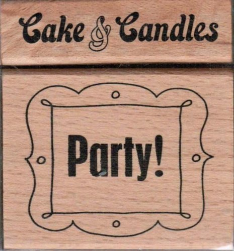 """Set of 2 Rubber Stamps -""""Party"""" and """"Cake & Candles *"""