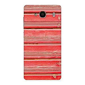 Red Wood Lock Design Back Case Cover for Redmi 2