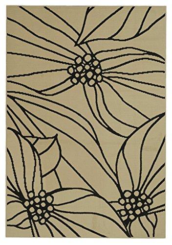 Fancy Floral Garden Leaves Ivory Black 4
