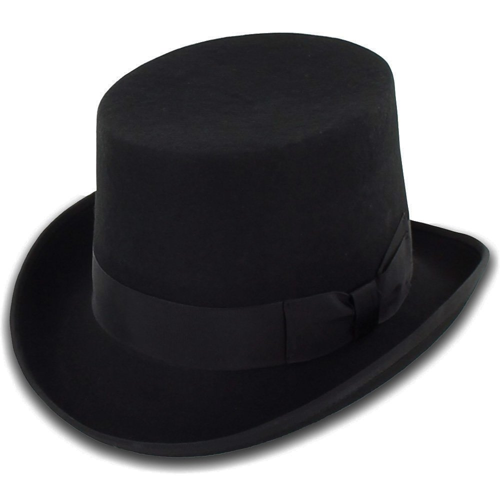 Belfry Topper 100% Wool Satin Lined Men's Top Hat in Black Available in 4 Sizes 0