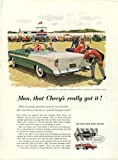 Man, that Chevy's really got it! Chevrolet Bel Air Convertible ad 1956